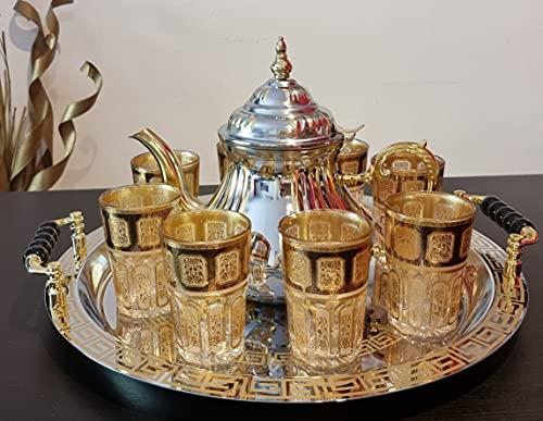 Juego de té marroquí Completo, Tetera de inducción con Filtro Integrado 1.6L + Bandeja redonda con asas 40cm 8 Vasos de cristal dorados