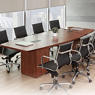 8ft - 26ft Modern Boat Shaped Conference Room Table with Cube Bases, Meeting Boardroom, Office Space (14ft w/ 3 Power Modules, Walnut)