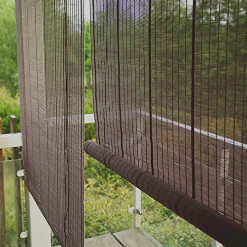 Lqdp Estores Enrollables Persianas Enrollables para Terraza de Patio Exterior, Cortina Enrollable Rústica de Bambú Natural, Cenefa Plana, Caída de 285cm/225cm/145cm/125cm/65cm