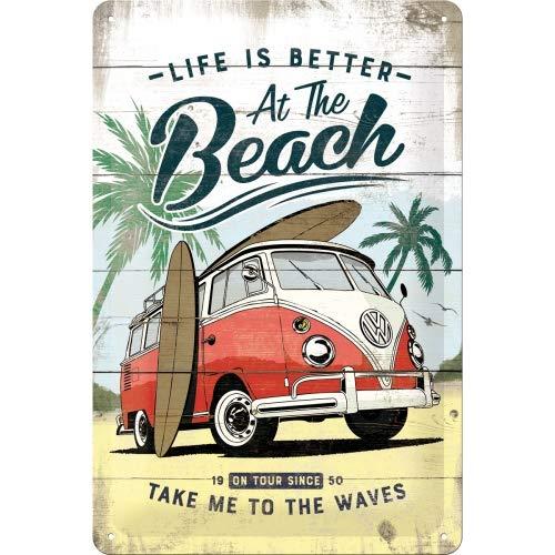 Nostalgic-Art Retro Blechschild Volkswagen Bulli T1 – Beach – VW Bus Geschenk-Idee, aus Metall, Vintage-Design zur Dekoration, 20 x 30 cm