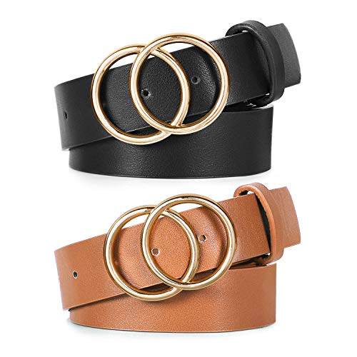 2 Pack Double Ring Belt for Women, Faux Leather Jeans Belts with Golden Circle Buckle, Black&Brown, Fit Waist 30-34 inches