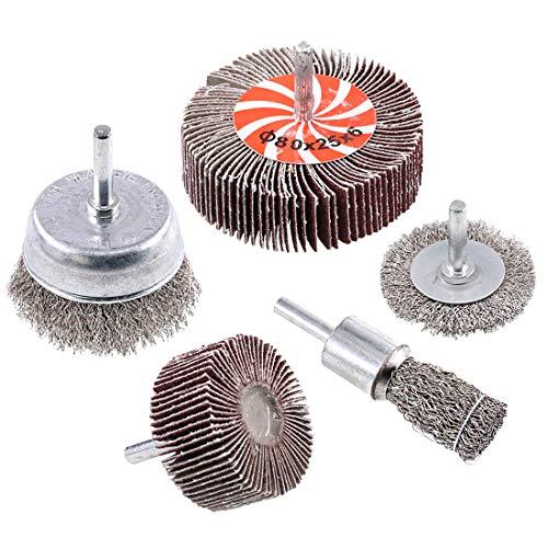 Swpeet 5Pcs Crimped Wire Wheel Brush & Wire Cup Brush Set with 1/4-Inch Shank, 5 Sizes Drill Accessory Kit Perfect For Removal of Rust/Corrosion/Paint - Reduced Wire Breakage and Longer Life