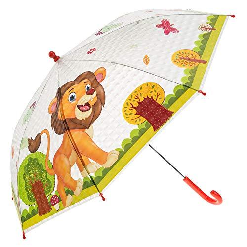 Idena 50047 - Kinderregenschirm für Jungen und Mädchen, mit putzigem Löwenmotiv auf transparentem Kunststoff, Durchmesser ca. 83 cm, Länge ca. 66 cm