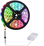 Suntec Wellness–Tira de luces LED (100cm, RGB multicolor, con caja de batería a pilas, con minicontrolador para iluminación interior en cocinas y armarios), color multicolor