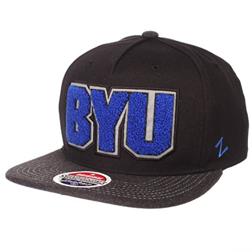 NCAA Zephyr Byu Cougars Mens Jock Snapback Hat, Adjustable, Gray/Team Color
