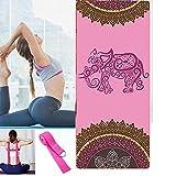 CDblue Esterilla de Yoga Plegable Gruesa Antideslizante de Viaje Esterilla de Yoga Esterilla de Ejercicio para Yoga Pilates y Fitness con 1 Correa de Banda Yoga(NO elástica)-Elefante