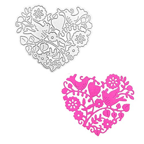 Love Heart Shape and Magpies Metal Die Cuts, Die Cutting Template Cutting Dies Stencil Scrabooking Supplies for Invitation Card Making, Paper Crafting, Envelope, Emboosing, DIY Photo Album