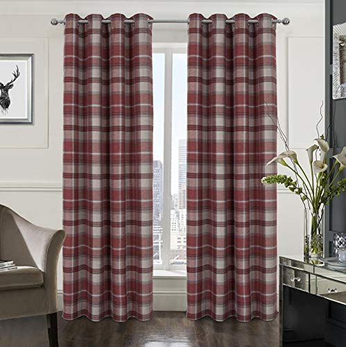 Alexandra Cole Plaid Tartan Check Modern Classic Window Treatment Curtain/Drapes for Living Room 2 Panels Red 45X84 Inch