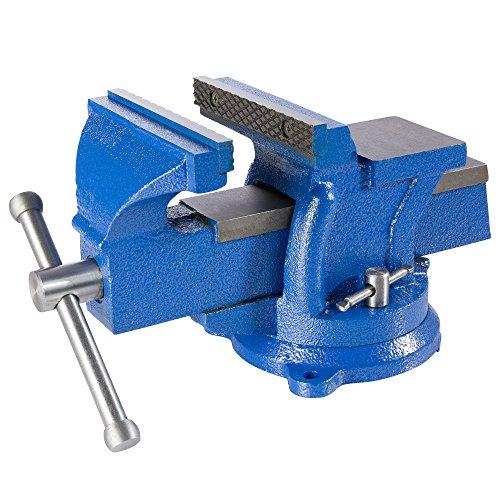 AREBOS Tornillo de banco de 125 mm | giratorio 360° | hierro fundido | con yunque | color azul | fuerza de sujeción 1 T