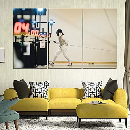 ZDtgcf Fechtausrüstung Schwert Sport Malerei 3 Stück Stil Bild Leinwanddruck Typ Moderne Wohnkultur Wandkunst Poster-D