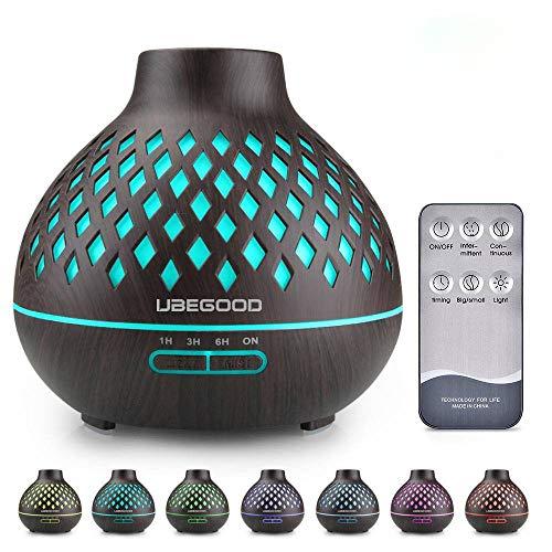 UBEGOOD Difusor de Aceite Esencial, 400ML Difusor de Aromaterapia Humidificador Ultrasónico Aroma Difusor Purificador de Aire con 7 Colores LED para Hogar, Oficina, SPA, Bebé - Negro