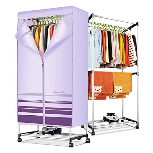 ZXR-Clothes dryer Secadoras, Secadora por Ventilación, Doble Secador De Aluminio, Secadoras con Bomba De Calor, Secador Eléctrico, Tendedero, Temporizador 180 Min,Gran Capacidad 15 Kg (PúRpura)