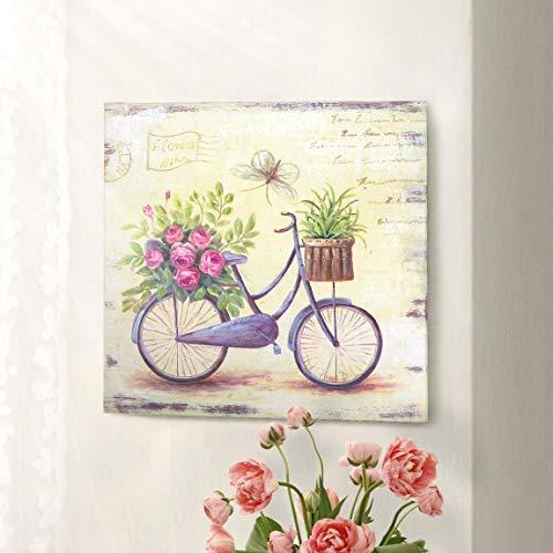 Impresión sobre Lienzo, Cuadro impresión Cuadrado, Cuadro Decoración Pared Arte Pintura, Canvas Vintage Rústico Shabby Chic - Floral - 38x38