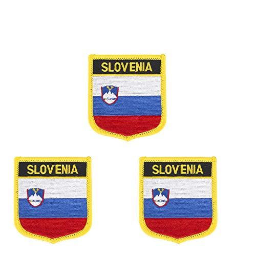 3 Stück bestickte Slowenien-Flagge zum Aufbügeln oder Aufnähen.
