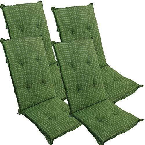 DILUMA Hochlehner Auflage für Gartenstühle 120x50 cm Grün Fein Kariert 4er Set - 6 cm Starke Stuhlauflage mit Komfortschaumkern und Bezug aus...