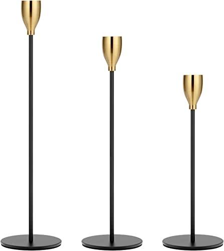 wholesale Worhe Metal Candle Holders Set of 3 for online Taper Candle, Matte high quality Black Candlestick Holders with Brass Color Top, for Table Decoration, Candle Stand for 3/4 inch Thick Candles or LED Candles(ZT006) online sale