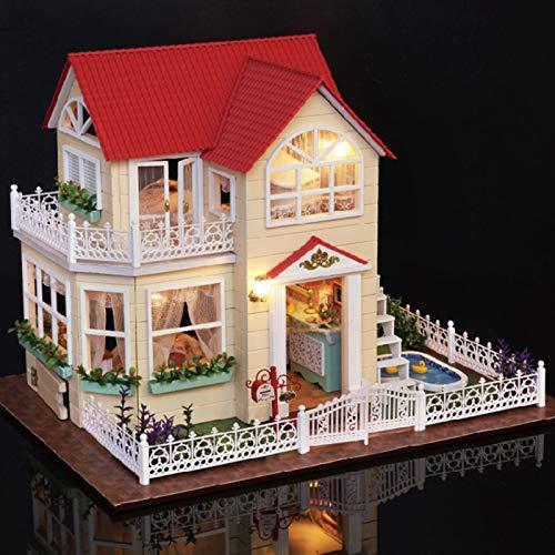 Okuyonic Exquisita decoración 3D Handcraft Princess House Mini DIY Dollhouse Kit Bien Hecho Regalo romántico Decoración del hogar para niños Familia para Amigos