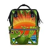 Ahomy Sac à dos étanche pour la randonnée, le travail, motif grenouille verte sur la plage, le coucher du soleil, pour homme et femme