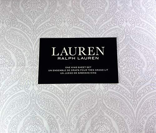 Lauren King Size Medallion Floral Sheet Set Cotton Light Gray and White