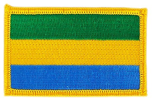 Patch Aufnäher Bestickt Flagge Gabun gabonais zum Aufbügeln Abzeichen Backpack