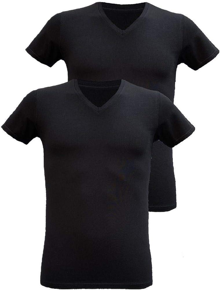 Armata di mare ,2 magliette interne per  uomo , in  cotone elasticizzato , scollo a v e manica corta GT 109 A