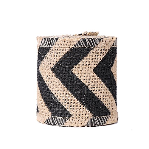 USIX 10 Yards Natrual Jute Burlap Ribbon Roll with Color Stripe Print for Arts Crafts DIY Gift Packing Flower Wrap Wedding Birthday Baby Shower Decoration (D4-6 Black)