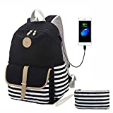 Lmeison Canvas Backpack for Teen Girls, Lightweight Cute Striped Bookbag with USB Charging Port Pencil Case, Charging School Backpacks Set for Women College 15.6' Laptop Bag Travel Daypack, Black