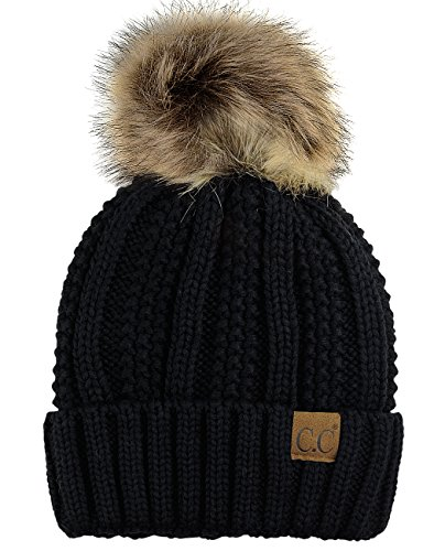 C.C Thick Cable Knit Faux Fuzzy Fur Pom Fleece Lined Skull Cap Cuff Beanie, Black