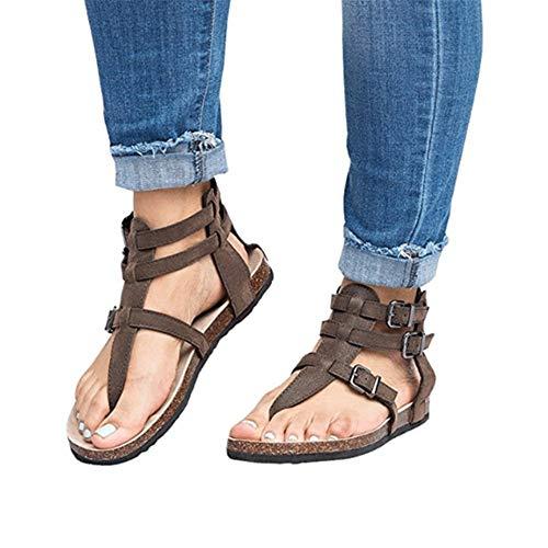 LXYYBFBD Sandalen Voor Vrouwen, Bruin Etnische Boheemse Zomer Schoenen Vrouwen Pompon Cork Sandalen Gladiator Roman Bandage Schoenen Womens Flat Sandalen