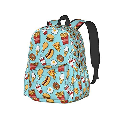 Mochila unisex Elegante bolso de negocios con correas acolchadas para los hombros Divertidos bocadillos Donas Hamburguesas Pizza Pierna de pollo Libros de moda Mochilas para computadora portátil Moch