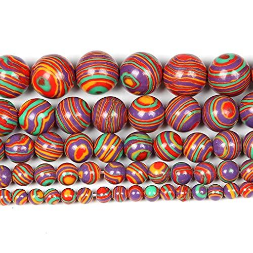 Perlas de piedra natural para la fabricación de joyas Lapislazuli Amatista Folletos Accesorios de pulsera redonda Hecho a mano 4-12mm-malaquita_6mm alrededor de 63pcs