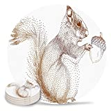 Ceramic Drinks Coasters, 8 PCS Cork Based Absorbent Stone Coasters with Squirrel Pinecone Made of Dots Protect Your Furniture from Scratches Brown