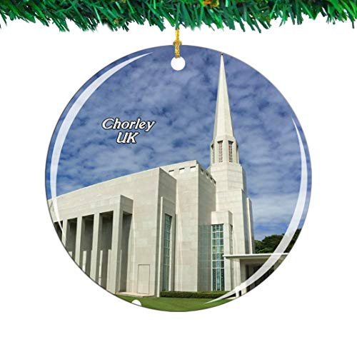 Weekino UK England Preston England LDS Mormon Temple Chorley Christmas Ornament City Travel Souvenir Collection Double Sided Porcelain 2.85 Inch Hanging Tree Decoration