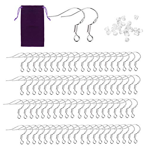 Earring Hooks - SOOKIN 100PCS Ear Wires Fish Hook Earring French Wire Hooks 925 Sterling Silver with 100PCS Earring Backs - for DIY Jewellery Making (Jewelry Bag Bonus)