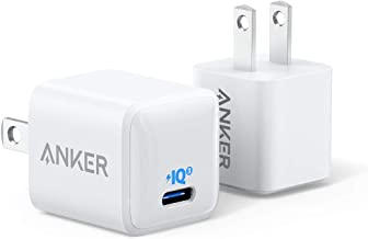 [Upgraded] Anker Nano iPhone Charger, 20W PIQ 3.0 Durable Compact Fast Charger, PowerPort III USB-C Charger for iPhone 12/12 Mini/12 Pro/12 Pro Max, Galaxy, iPad Pro, AirPods Pro, and More (2-Pack)