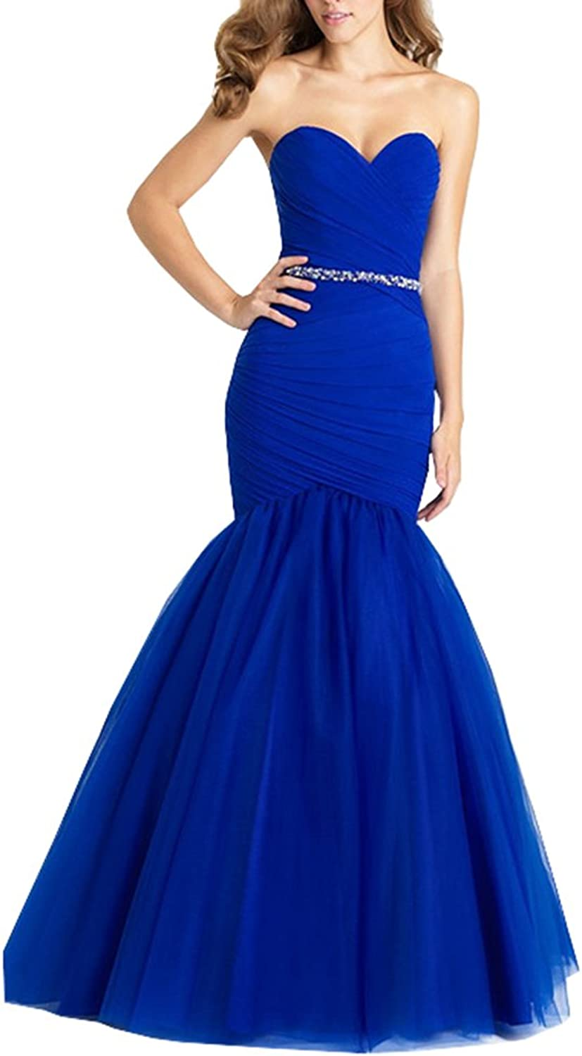 Lavaring Women's Sweetheart Tulle Sequins Backless Mermaid Pleat Evening Dress