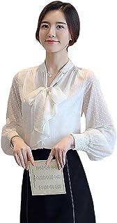 Jocolate(ジョコレート) ブラウス レディース 長袖 白 ビジネス シフォンブラウス リボン シャツ トップス 大人 女性 おしゃれ フォーマル OL通勤 スーツ インナー