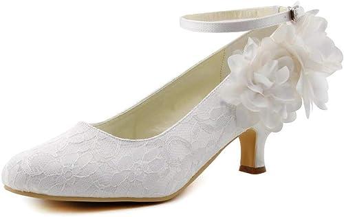 Charmstep damenes schuhe de novia Roune Toe hebilla gatito talón encaje de Satén bombas schuhe de boda MZ8233