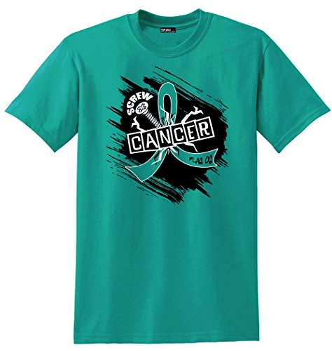 Fight Like a Girl Screw Cancer Unisex T-Shirt for Ovarian Cancer, Peritoneal Cancer, Gynecologic Cancer Awareness - Teal [L]
