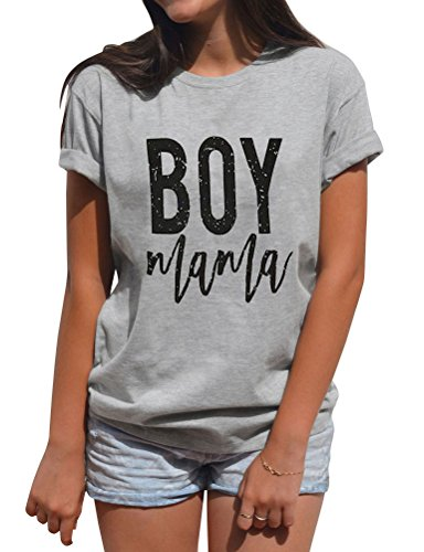 SCX Women Summer Simple Style Short Sleeve Letter Print BOY Mama Grey Loose Plus Size T-Shirt
