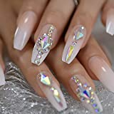 CoolNail Long 3D Bling Glitter Pink Nude French Ballerina Coffin False Fake Nails Gradeint Natrual Press on Party Finger...