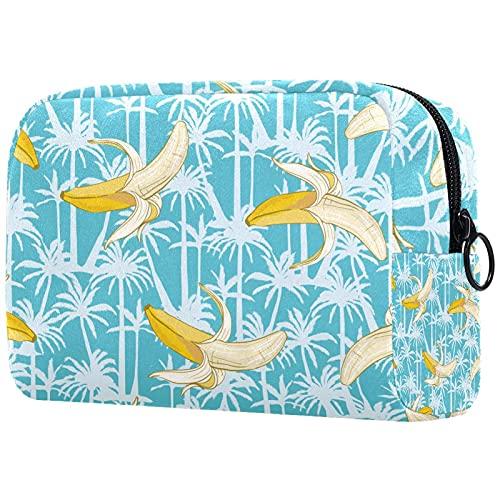 Bolsa de almacenamiento multifuncional con patrón de plátano para mujeres y niñas, bolsa de aseo portátil para viajes, Multicolor1, 18.5x7.5x13cm/7.3x3x5.1in, moderno
