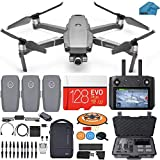 DJI Mavic 2 Zoom Drone Quadcopter Fly More Combo with Smart Controller (Built in Monitor), 3 Batteries, Case, 128GB SD Card with 24-48mm Optical Zoom Camera Bundle Kit with Must Have Accessories