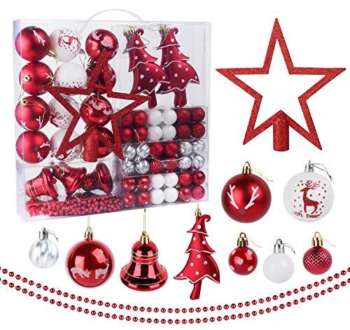 ilauke Palle di Natale 100 Pezzi Decorazioni Albero di Natale Palline di Plastica Rosso e Bianco 3-5 cm Decorazioni Albero di Natale per Dell'Albero per la Decorazione