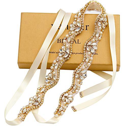 yanstar Handmade Rhinestone Belt Wedding Bridal Belt Sashes for Bridesmaid Dress (Gold-Ivory)