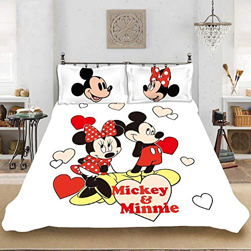 CXYY Disney Mickey Mouse 100% Microfibre 3D Digital Print Duvet Cover and Pillowcase with Zip Fastener (A,200x200cm)