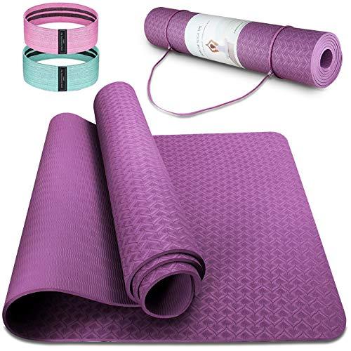Tappetino da Yoga TPE Tappetino Fitness Palestra Pilates Tappetini Sport Materassino Yoga Mat Antiscivolo Pieghevole, 183 x 63 x 0,6 cm (Viola scuro)