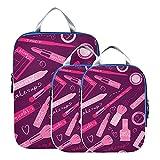 Cubos de embalaje de viaje, maquillaje de belleza, colorido, para niña, sombra de ojos, maleta, organizador de bolsas, conjunto de cubos de embalaje expandibles, organizador de viaje para equipaje de
