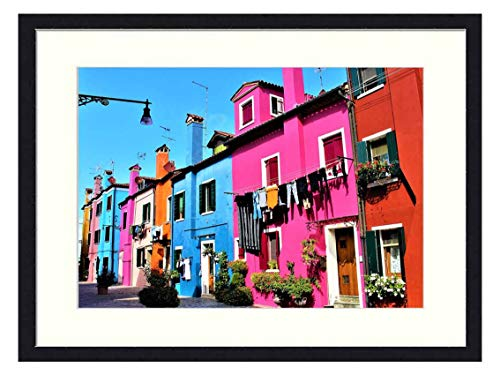 OiArt Wall Art Canvas Prints Wood Framed Paintings Artworks Pictures(20x14 inch) - Venice Italy Burano Island Beautifully Travel