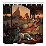 NYMB Egypt Leopard Shower Curtains Decor, Ancient Egyptian Sex Lady and a Tame Cheetah, Polyester Fabric Pyramid Shower Curtains, 69X70 in, Shower Curtain Hooks Included